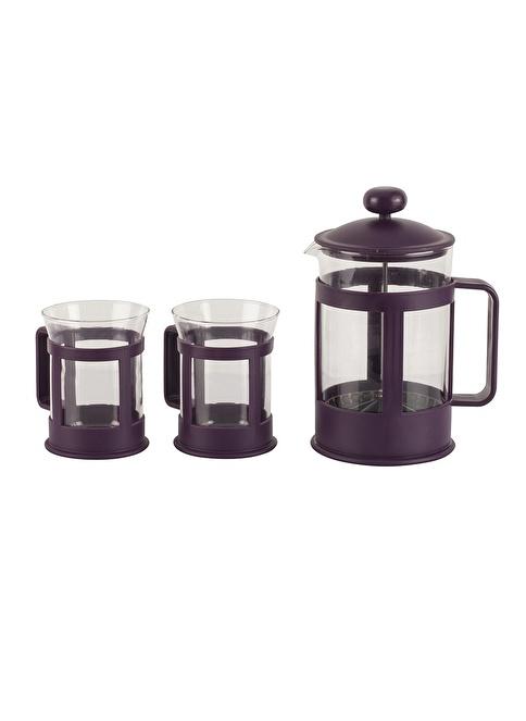 Tantitoni Çay Kahve Presi 850Ml Ve 2Li Bardak Seti Mor